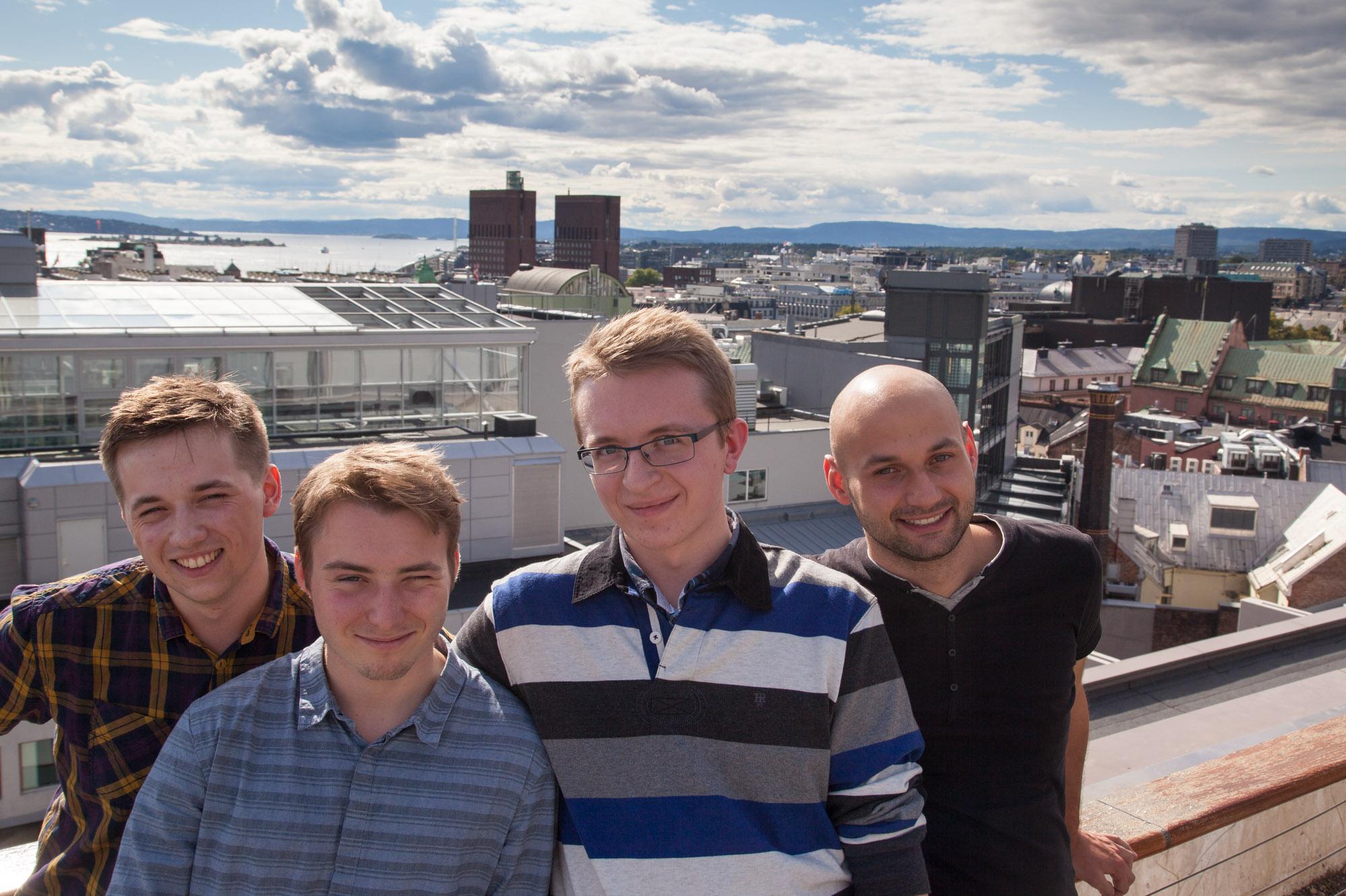 The summer interns 2014 visiting Oslo at the end of their program. From the left: Piotr Podolski, Jacek Żyła Radosław Chamot and Krzysztof Słonka
