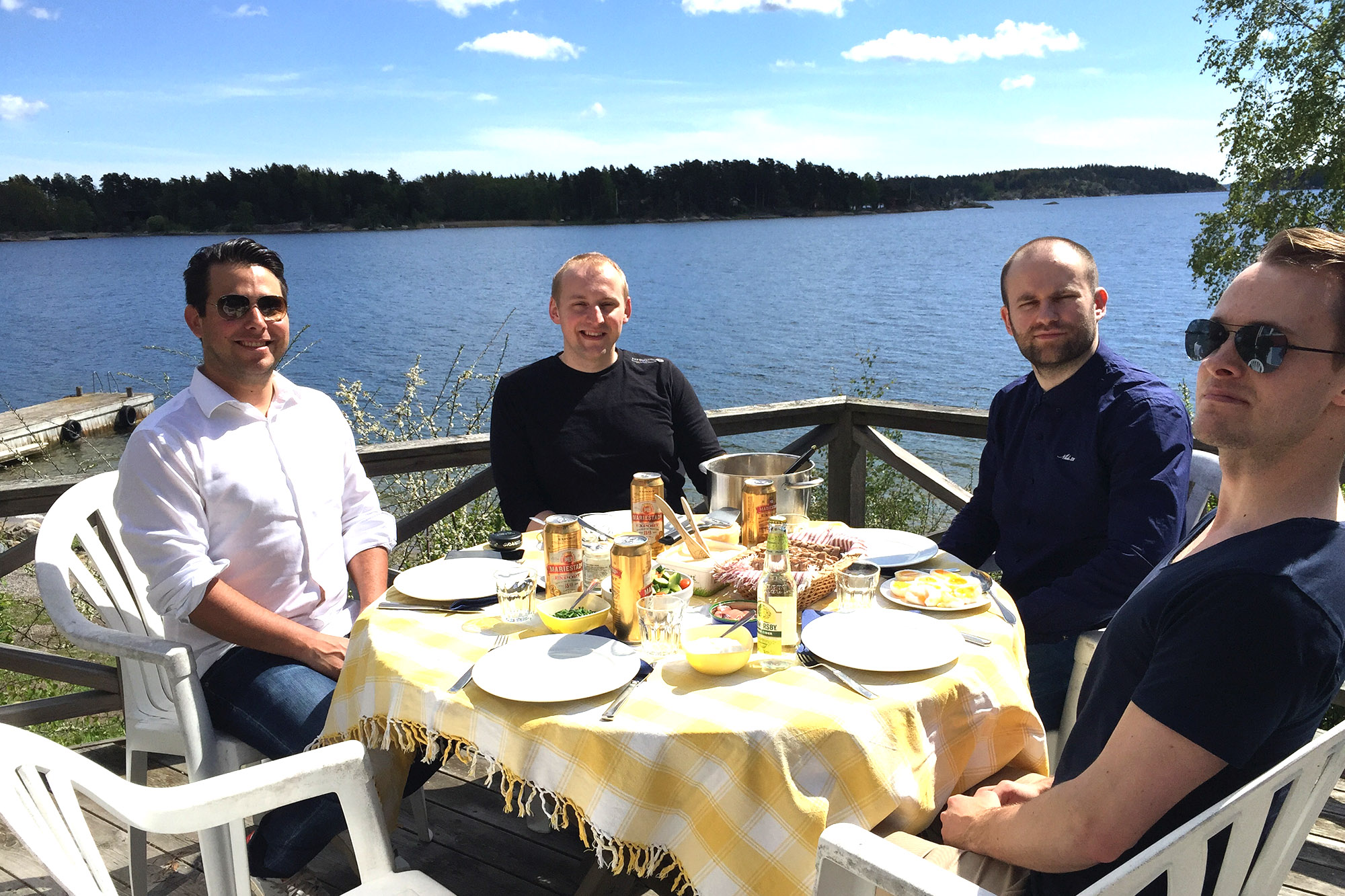 Swedish and Polish programmers getting to know each better by the sea in Sweden