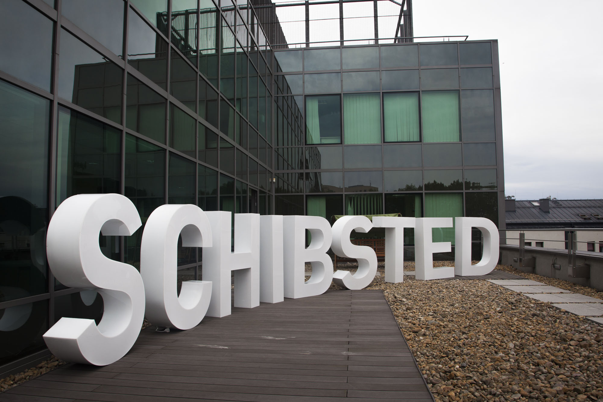 "Ready for film shoot: The nine ""Schibsted"" letters!"