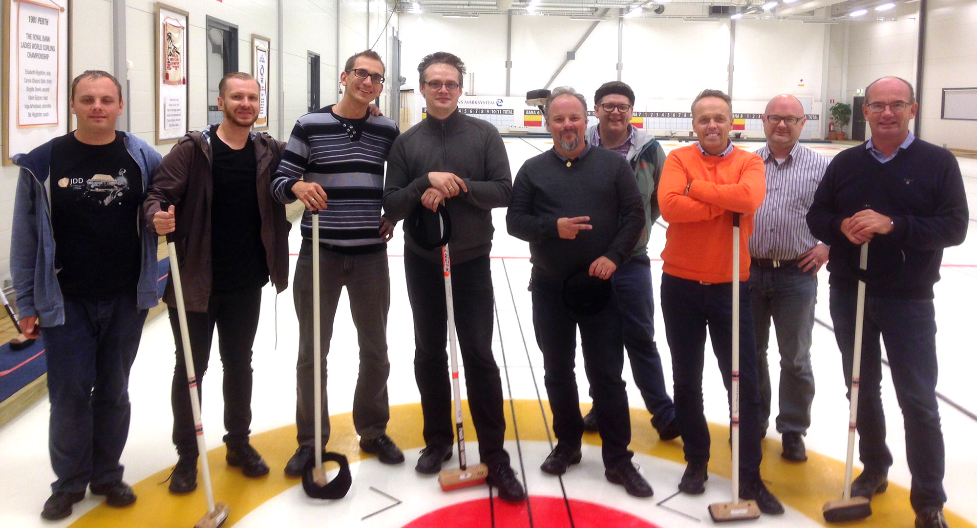 Visiting Karlstad in Sweden the team were invited to play curling with Swedish colleagues