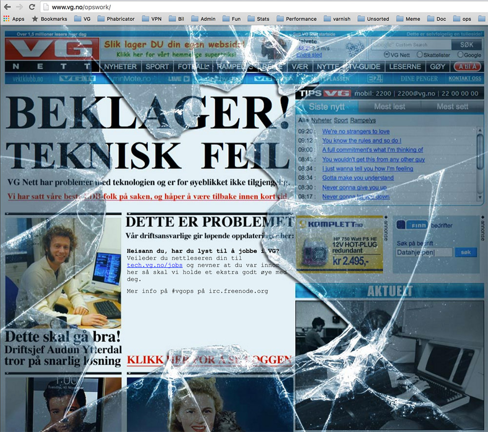 VG´s error page when hackers managed to close down the site.