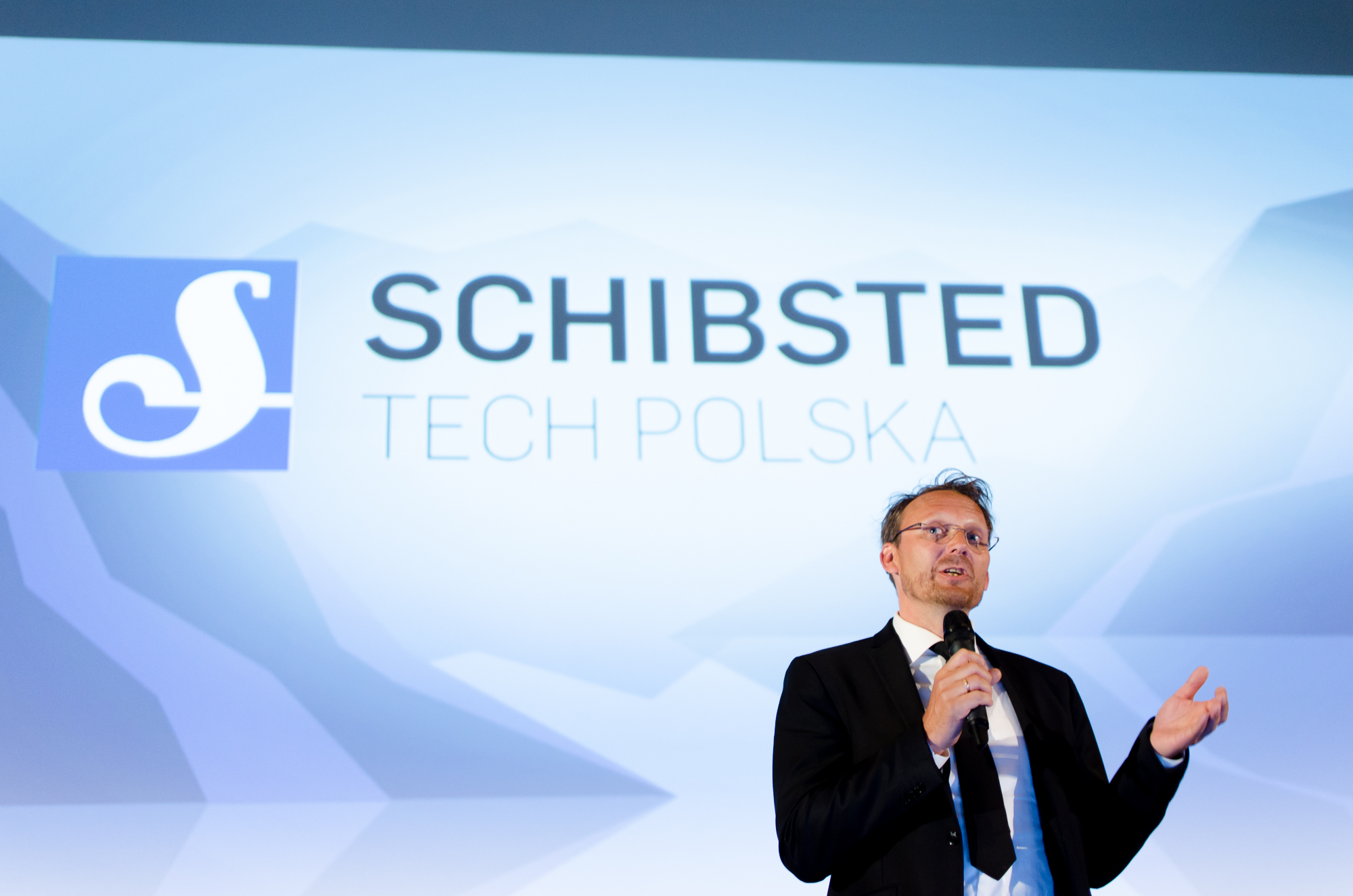 CEO Stig A. Waagbø had 40 seconds to pitch Schibsted Tech Polska as a great company to work for
