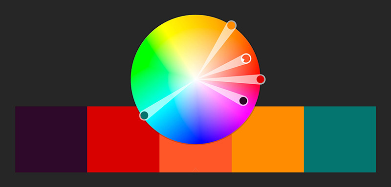 The Second Picture Shows Analog Palette Violet Red Orange With Additional Complementary Color Green