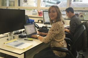 Aleksandra working in the London office