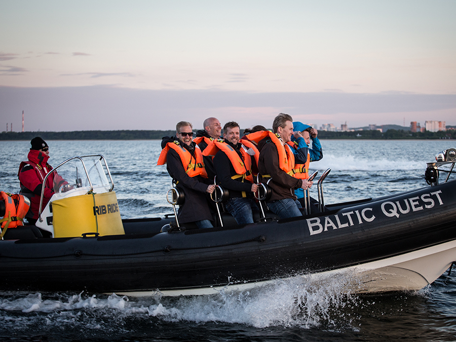 Scandinavian partners on a fast boat ride together with colleagues from Schibsted Tech Polska during Partner Days 2014 in Gdansk