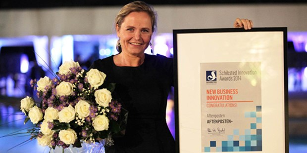 Anette Mellbye received the Schibsted Innovation Award on behalf of Aftenposten