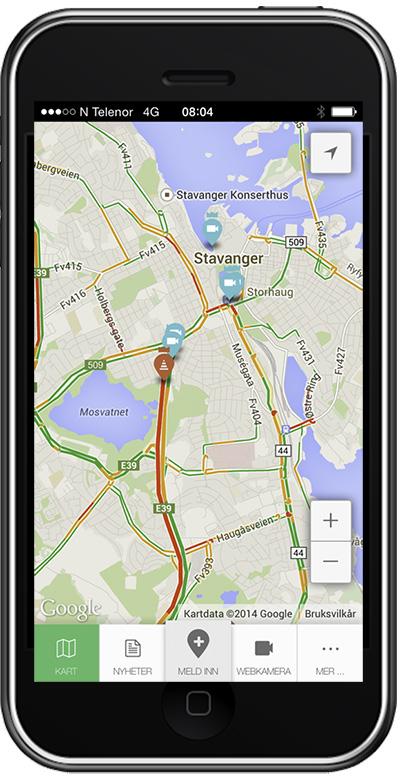 Traffic app from Stavanger Aftenblad