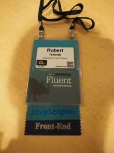 My badge from the Fluent Conference