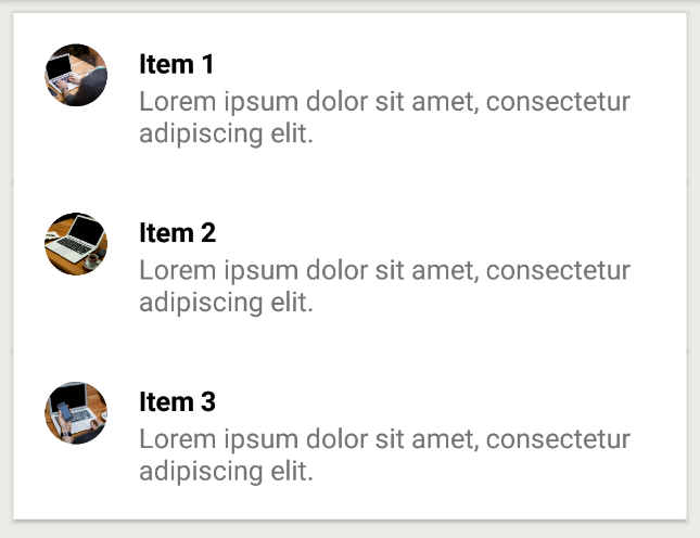 How to present items on one card in a recycler view